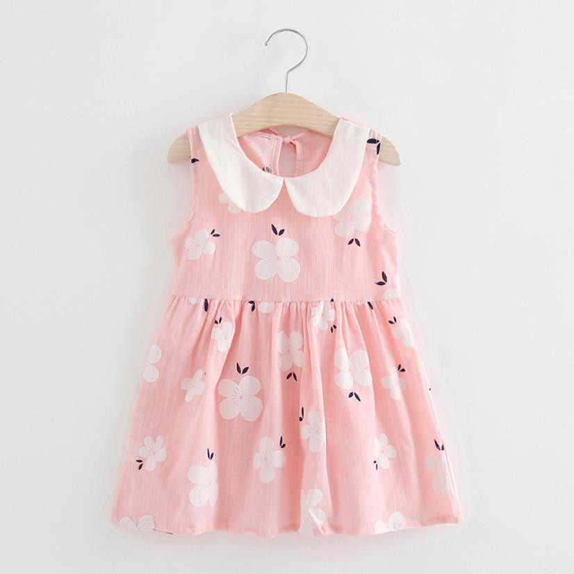 בנות פעוטות קיץ שמלות ללא שרוולים חתונה מסיבת ילדי קיץ שמלת נסיכת תינוק שמלות כותנה צווארון פיטר פן מקרית