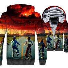 Mens Jacket Upside Down Hoodie Men Eleven Ghostbusters Hooded Sweatshirt Winter Thick Fleece Harajuku 3D Print Coat