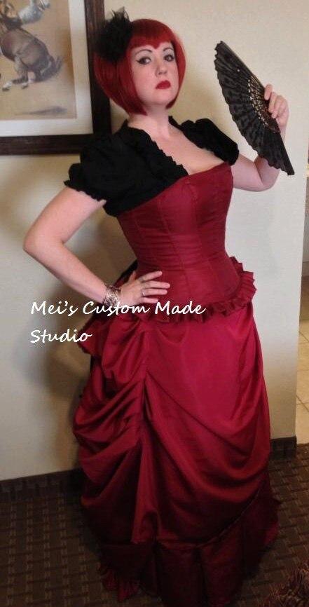 Custom Made Red Angelina Dalles Kuroshitsuji Black Butler Victorian Bustle Dress