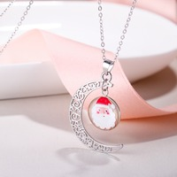 Bella Fashion Moon Necklace Pendant Santa Claus Snowflake Christmas Tree 925 Sterling Silver Glow In The Dark Party Jewelry Gift