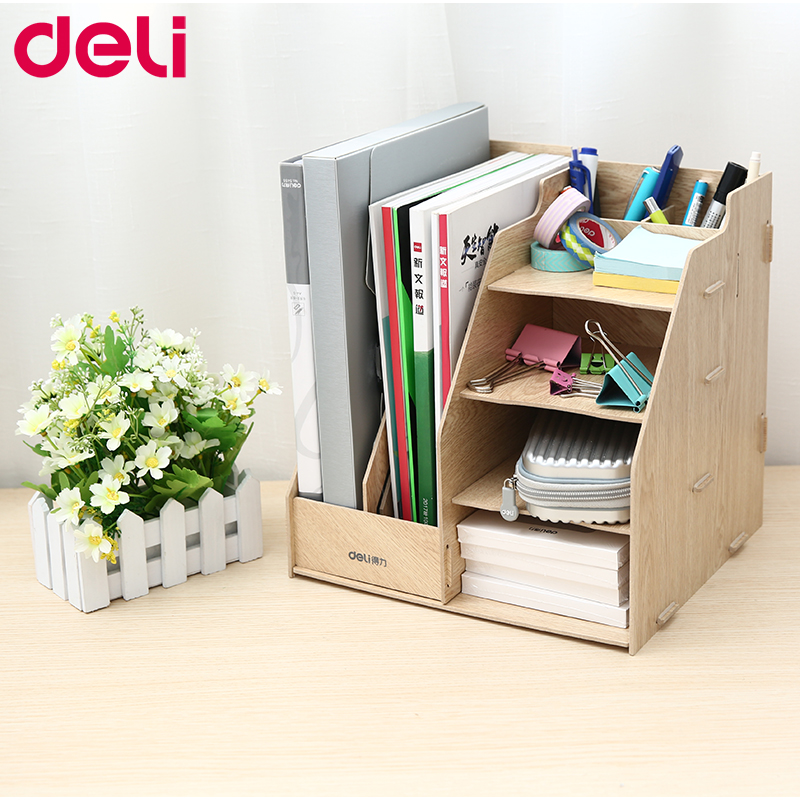Deli Wood File Frame DIY Portfolio File Rack Wood Desktop Receiving Multi-layer File Tray Different Type Document Trays