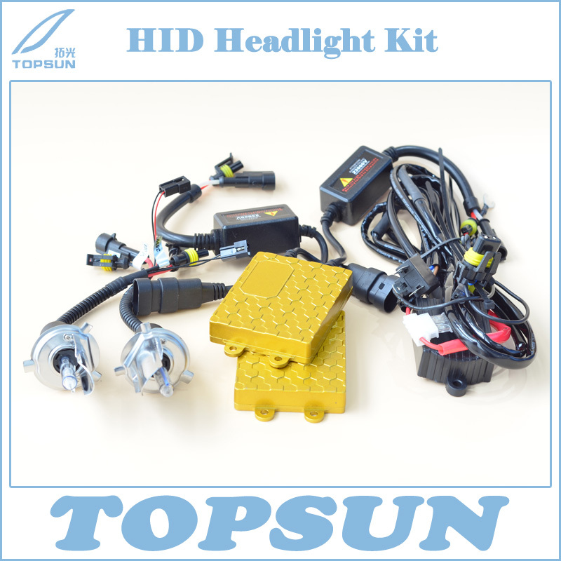 цены Free Shipping 12V 55W HID Xenon Car Light Conversion Kit, Ballast, Bixenon H4 Swing Angle Bulb and High/Low Beam Control Wire