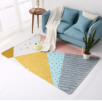 European Simple Style Washable Non-slip Rug Rectangle Geometric Pattern Carpet for Bedroom Living Room Kitchen Area Rug