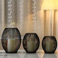 LED candela titolari Gabbie di Uccelli decorativi Matrimoni Nero Metallo Home Decor Per La festa di Nozze Centrotavola morocc gabbia per uccelli d'epoca