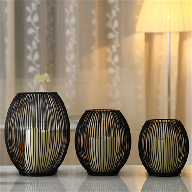 LED Candle Holders Decorative Bird Cages Weddings Black Metal Home Decor  For Wedding Party Centerpieces Vintage