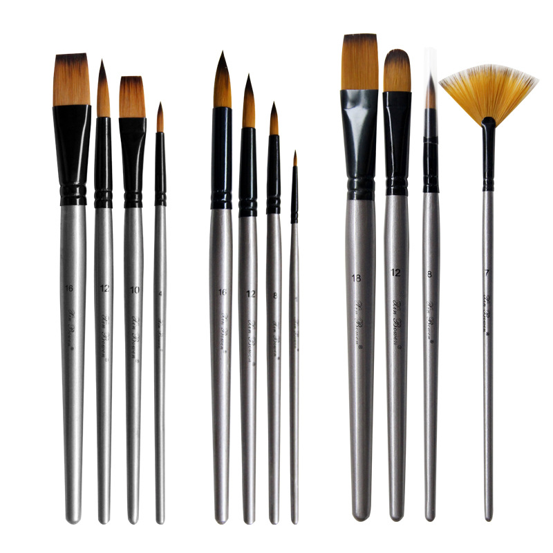Silver High Quality Nylon Hair Art Paint Brush 4pcs Oil Painting Brush Aluminum Tube Birch Brush Multiple Specifications Water