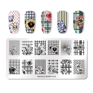 Image 2 - NICOLE DIARY Nail Stamping Plates Valentines Animal Plant Geometry Flower Nail Art Stamp Template Image Stamping Plate Stencil