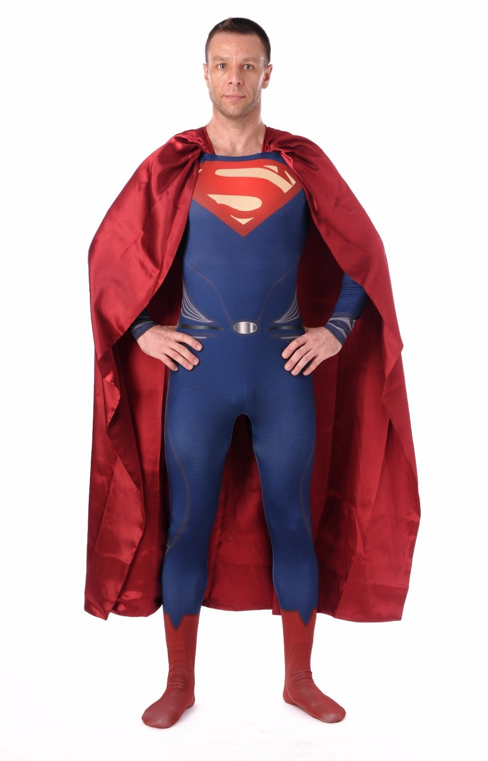 Superman Costume Spandex Zentai Costumes Halloween Costumes for Men Deguisement Catsuit Fancy Dress Jumpsuit with Cape