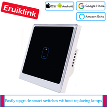 EU/UK Standard eWelink APP Control Light Switch, 1Gang Remote Control Switch Screen Light Switch Crystal Glass Panel livolo eu standard 1gang 2 way remote switch wireless switch vl c701sr 13 golden color glass without mini remote