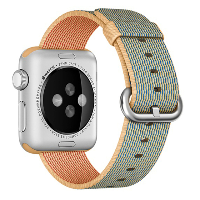 Tejido de nylon ocasional de los deportes men women watch band para apple watch iwatch correa de muñeca pulsera conector montado para 38/42mm i121.