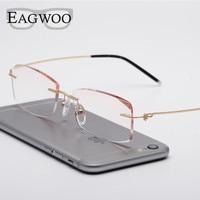 Alloy Eyeglasses Men Rimless Prescription Reading Myopia Photochromic Progressive Glasses Wire Spectacle Color lenses