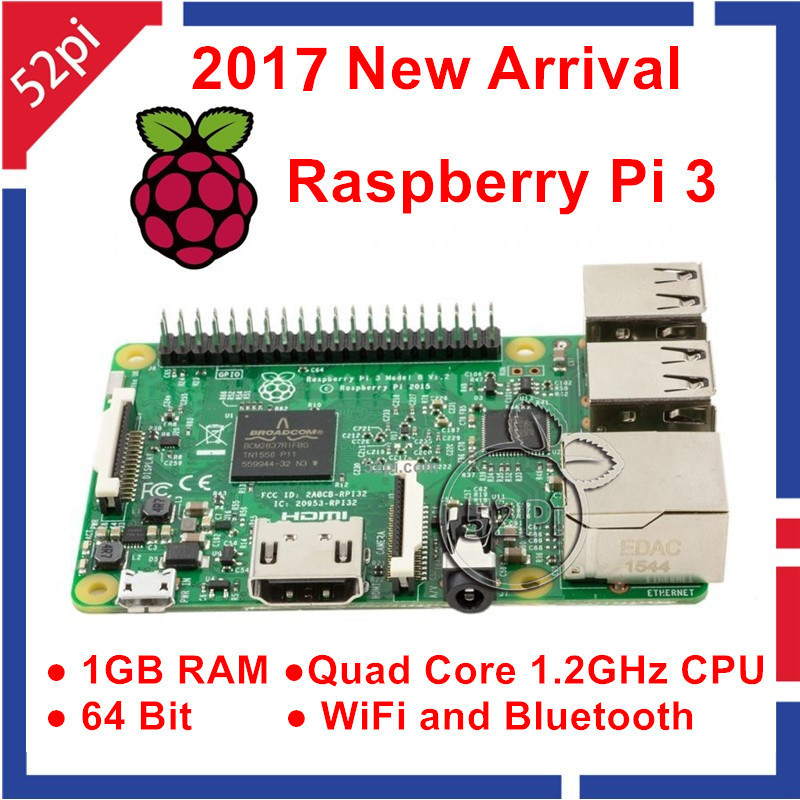 Raspberry Pi 3 Model B 1GB RAM Quad Core 1 2GHz 64bit CPU WiFi Bluetooth