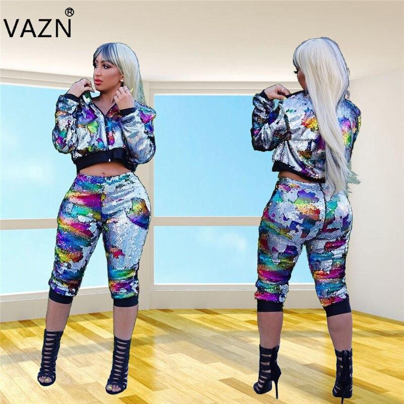 VAZN Automne 2018 New High Street Sexy Style 2 pièce Femmes Ensemble Camouflage Veau-Longueur Pantalon Lady Évider ensemble mince YS212