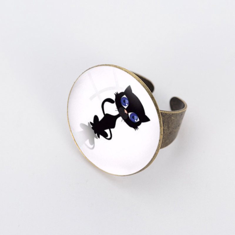 SUTEYI Vintage charm pencil art Round glass Ring retro wild animal glass dome cat Rings men women jewelry Dress Accessories