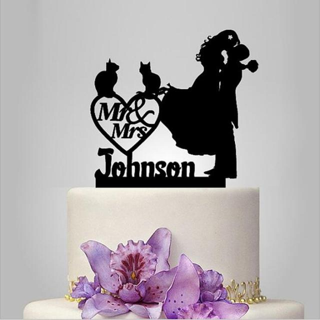 2017 Real Rushed Personalized Acrylic With 2 Cat Wedding Cake Topper Stand