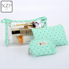XZP 3 Pcs New Arrive Crown Cosmetic Bag Women Necessaire Make Up Bag Travel Waterproof Portable Makeup Bag Toiletry Kits PVC