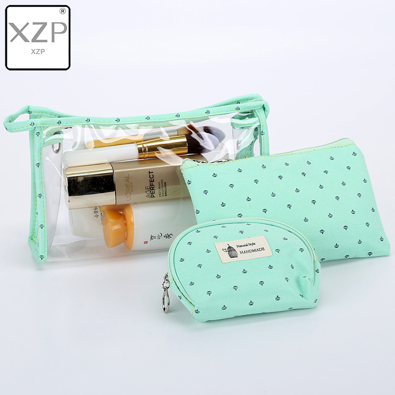 XZP <font><b>3</b></font> Pcs/<font><b>Set</b></font> New Arrive Crown <font><b>Cosmetic</b></font> <font><b>Bag</b></font> Women Necessaire Make Up <font><b>Bag</b></font> <font><b>Travel</b></font> Waterproof Portable Makeup <font><b>Bag</b></font> Toiletry Kits PVC image