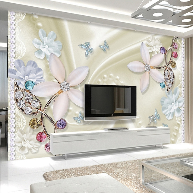 3d Wallpaper Cantik Perhiasan Bunga Stereo Relief Lukisan Dinding