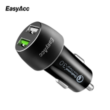 Easyacc Dual Port USB Car Charger For iPhone Xiaomi Quick Charge 3.0 Output 2.4A Travel Adapter Cigar Lighter DC 12-24V