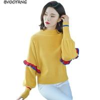 2019 fashion loose bat shirt sweater female short spring autumn wool pullover Lantern Sleeve knit shirt Plus size women clothing