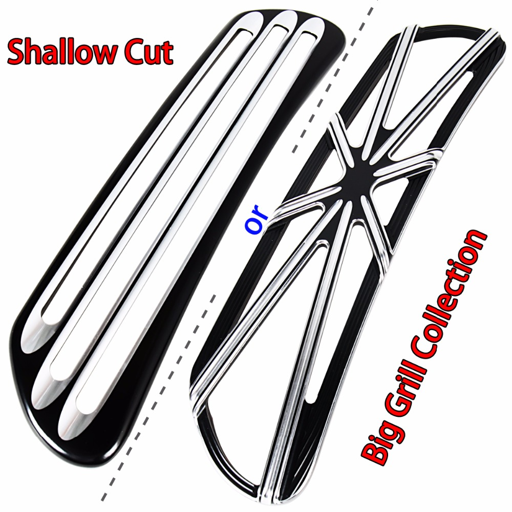 Shallow Cut Grill Collection Fairing Scoop Intake Trim Accent For Harley Touring Electra Street Glide FLH/T FLHX 2014-2018 Model rsd motorcycle 5 hole beveled derby cover aluminum for harley touring flh t 2016 2017 for flhtcul and flhtkl 2015 2016 2017