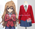 Angel's cosplay! Tiger X Dragon Toradora Aisaka Taiga Cosplay Costume School Uniform full set tops+skrit+shirt+tie free shipping