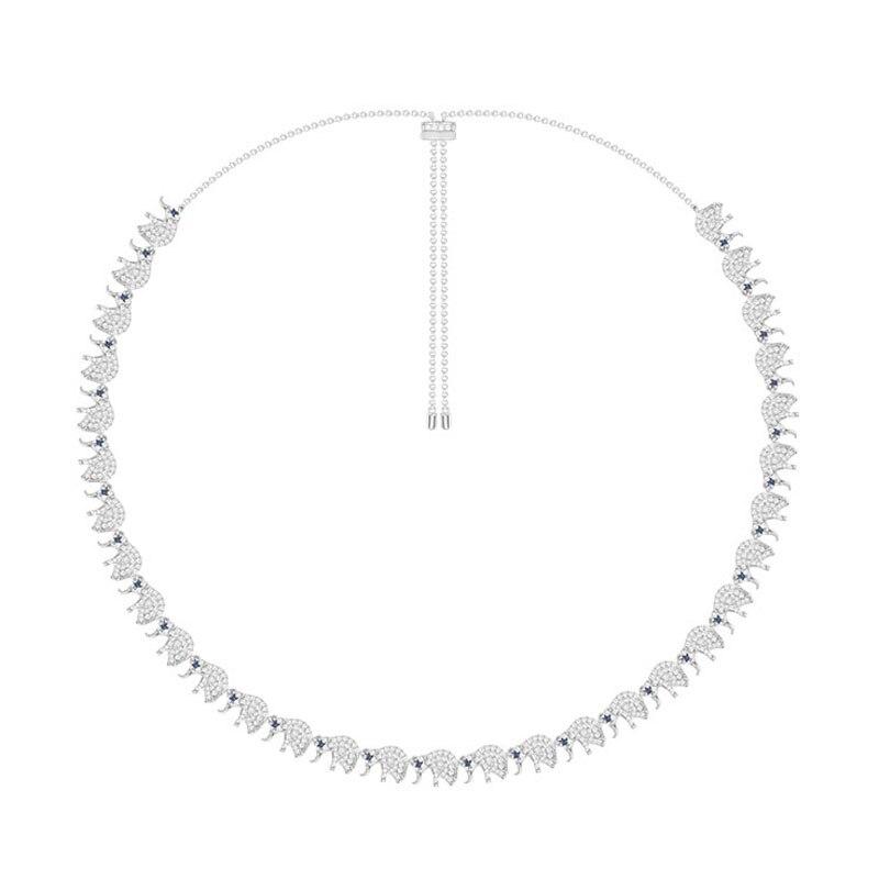 SLJELY 925 Sterling Silver 31pcs Elephants Charm Necklace Adjust Chain Zircon Choker Women Monaco Jewelry EQUILIBRE