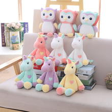 2019 New Cute unicorn plush toy rainbow owl stuffed animal soft doll baby kids sleep appease birthday gift for girl