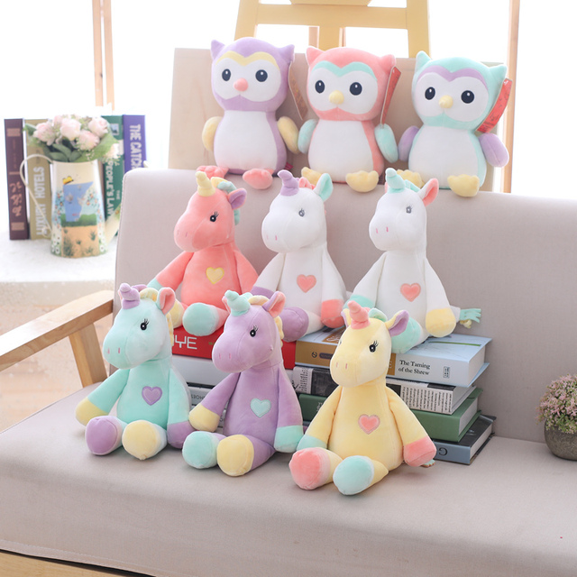 ea90ec0adf1c 2019 New Cute unicorn plush toy rainbow plush owl stuffed animal soft doll  baby kids sleep