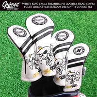 [2 Colors] KING SKULL Golf Woods HeadCovers Driver Fairways Hybrid Covers Set Vintage Series 135H 4pcs/lot For Men Women