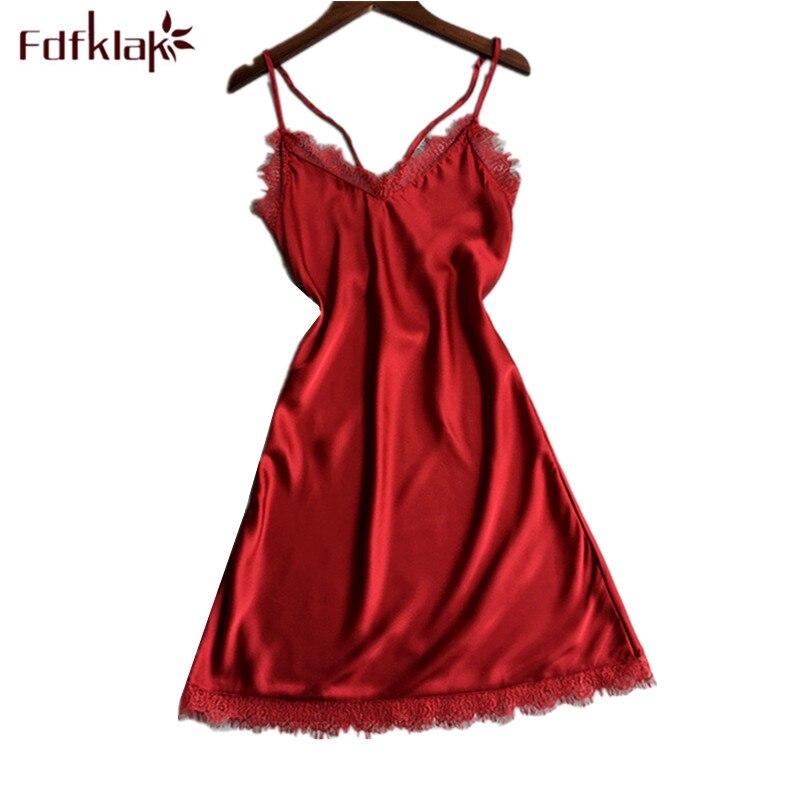 Fdfklak Womens Night Shirt Sexy Spaghetti Strap Silk Nightdress Female Sleepwear Dress Nightshirt Lady Slim Short Nightgowns