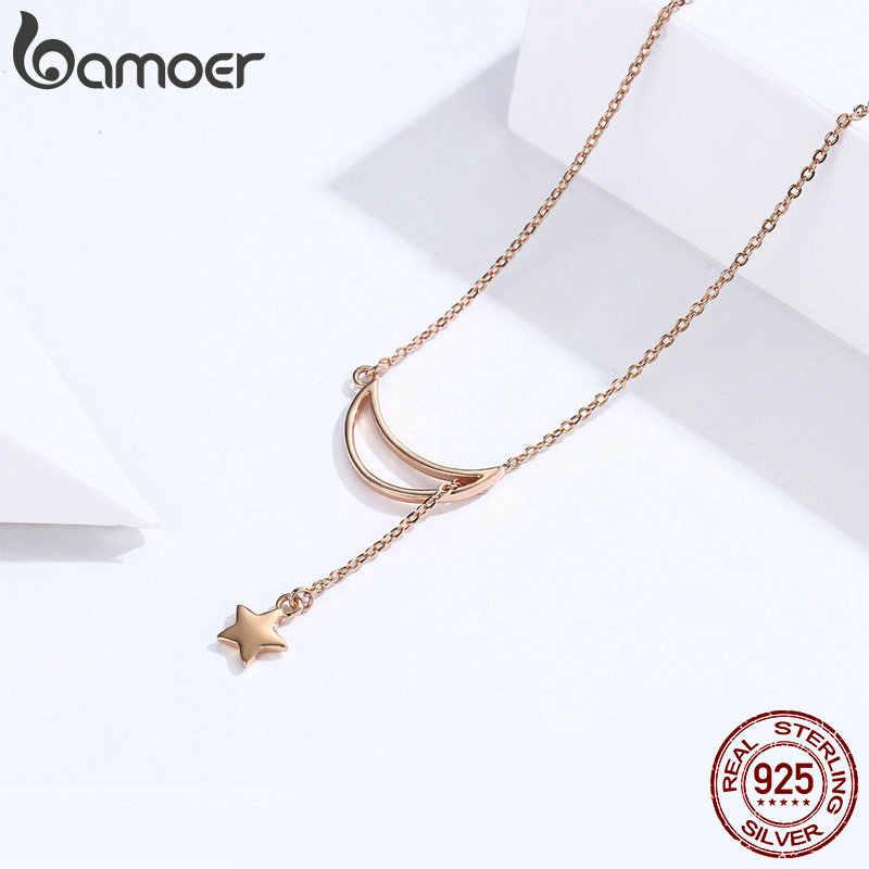 BAMOER Новое поступление Мода 925 серебро Луна и звезда сказки цепь соединительное звено подвеска ожерелья для женщин ювелирные изделия SCN108