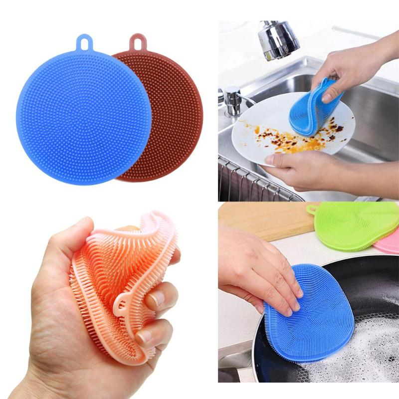 Multi-function Silicone Dishes Cleaning Brush Thermal Insulation Pad Kitchen Cleaning Accessories Pot Pan Scouring Pad