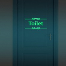 Funny Toilet Door Wall Glow in the Dark Stickers Luminous Bathroom Decoration Sticker Home Decor