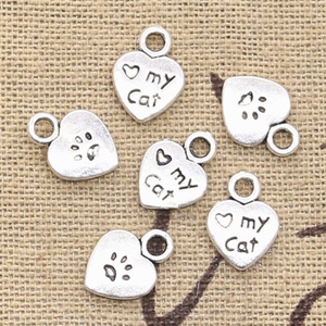 30pcs Charms Heart Love My Cat Paw 12x9mm Antique Pendant fit,Vintage Tibetan Bronze Silver color,DIY Handmade Jewelry(China)