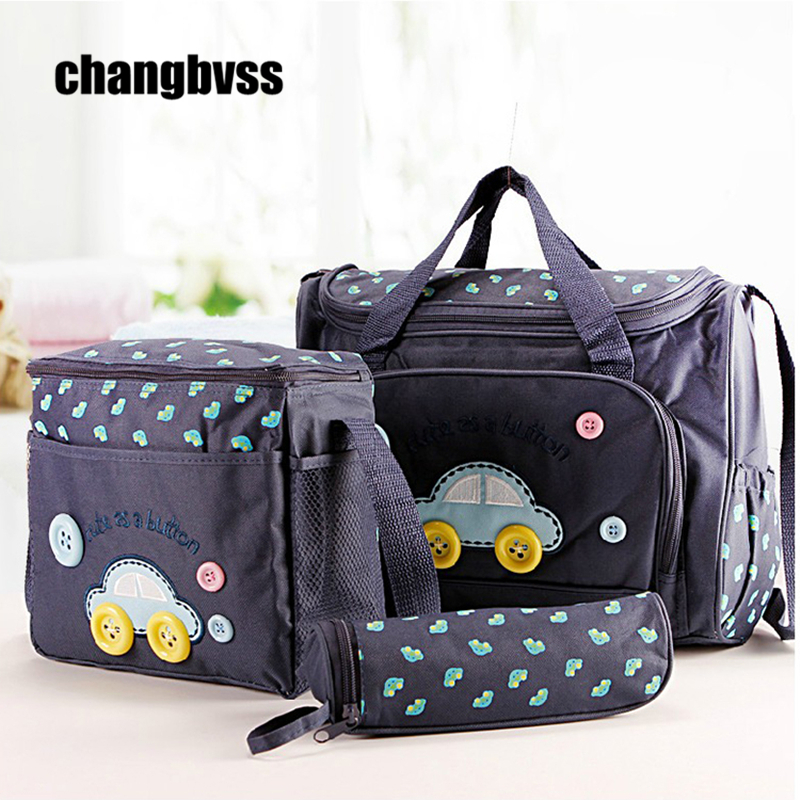 Fashion 4 PCS SET Blue Pink Multi function Mammy Bags Mother Backpack Baby Bag Maternity Nursing