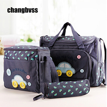 Fashion 4 PCS/SET Blue Pink Multi-function Mammy Bags Mother Backpack Baby Bag Maternity Nursing Diaper Nappy Bag Shoulder Bags