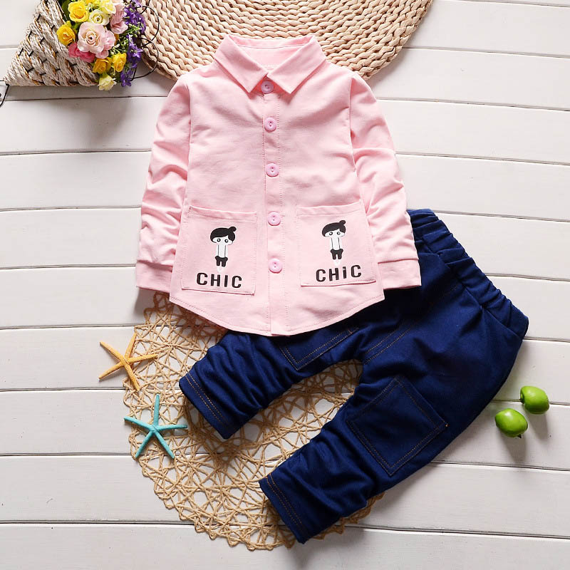 BibiCola spring autumn baby boys girls clothing sets 2018 new kids cartoon shirts+denim pants suits children sports clothes
