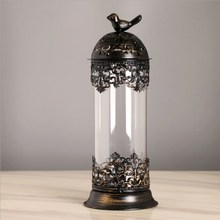 European Candlestick Home Creative Ornaments Retro Wrought Iron Candle Holder Wedding Decoration Glass Model