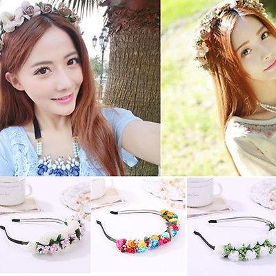 Floral Headband Wedding Beach Head Decor Women Boho Style Flower