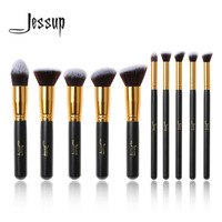 New Professional 10pcs Black Gold Foundation Blush Liquid Brush Kabuki Makeup Brushes Tools Set