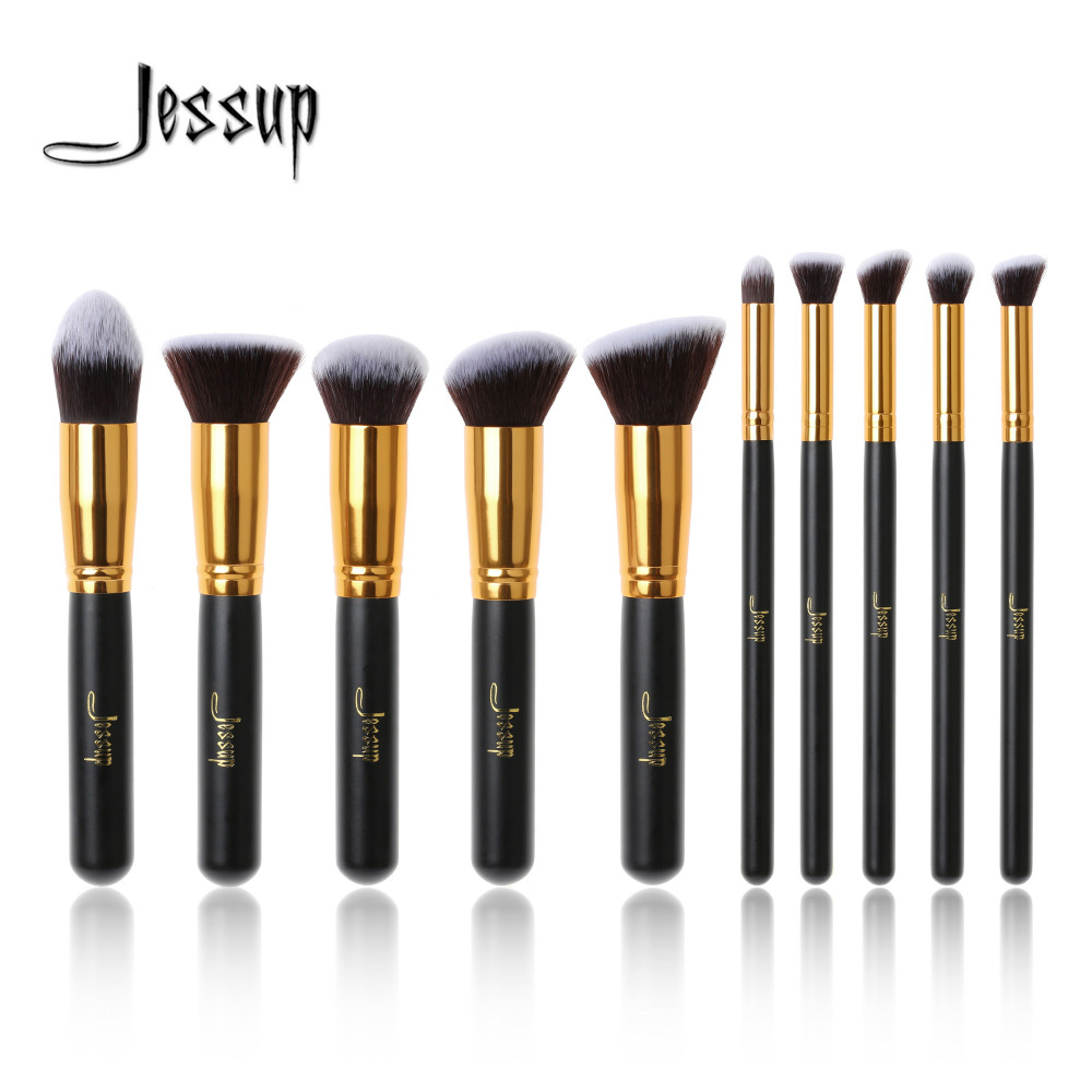 Jessup Brand 10pcs Black/Gold Makeup Brushes brushes Beauty Foundation Kabuki Cosmetics sets Makeup brush set blush Kit Tools 2017 jessup brushes 5pcs black silver beauty kabuki makeup brushes set foundation powder blush makeup brush cosmetics tools t063