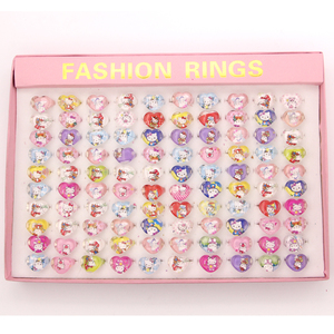 100pcs lovely cartoon Children Kids Cartoon heart-shaped Hello Kitty KT Cat Acrylic Rings (include Display Box) Birthday Gift