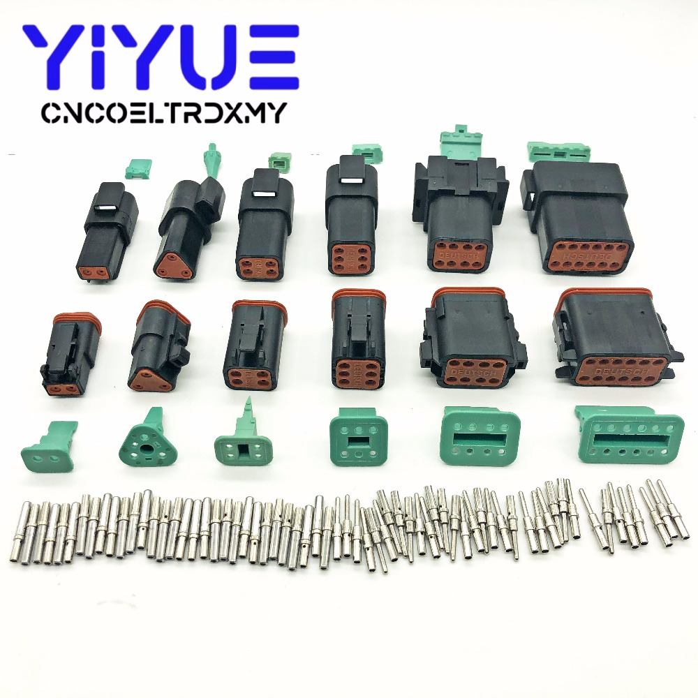 Deutsch DT 2-12 with Solid Pins Waterproof Electrical Wire Connector plug Kit 22-16AWG Engine/Gearbox waterproof electric Black Deutsch DT 2-12 with Solid Pins Waterproof Electrical Wire Connector plug Kit 22-16AWG Engine/Gearbox waterproof electric Black