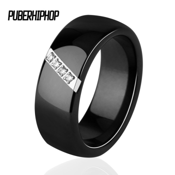 Black White Pink One Slash Crystal Ceramic Ring 1