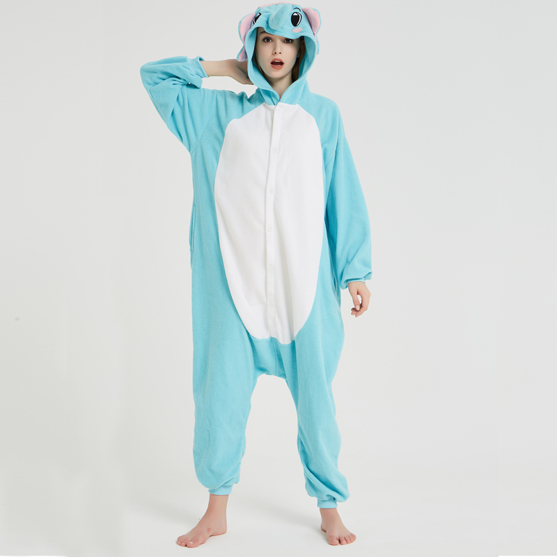 Elephant Adult Pajamas Polar Fleece Onesies Kigurumi For Halloween Pink One-piece Jumpsuit Siamese Cosplay Custome (3)