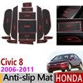 Для Honda Civic 2006-2011 8-го поколения Противоскользящий слот для ворот резиновый коврик аксессуары наклейки Тип R 2007 2008 2009 2010 FA FD