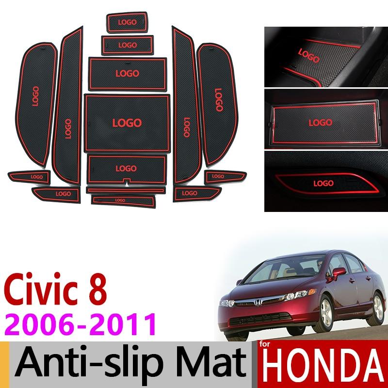 For Honda Civic 2006-2011 8th Gen Anti-Slip Gate Slot Mat Rubber Coaster Accessories Stickers Type R 2007 2008 2009 2010 FA FD