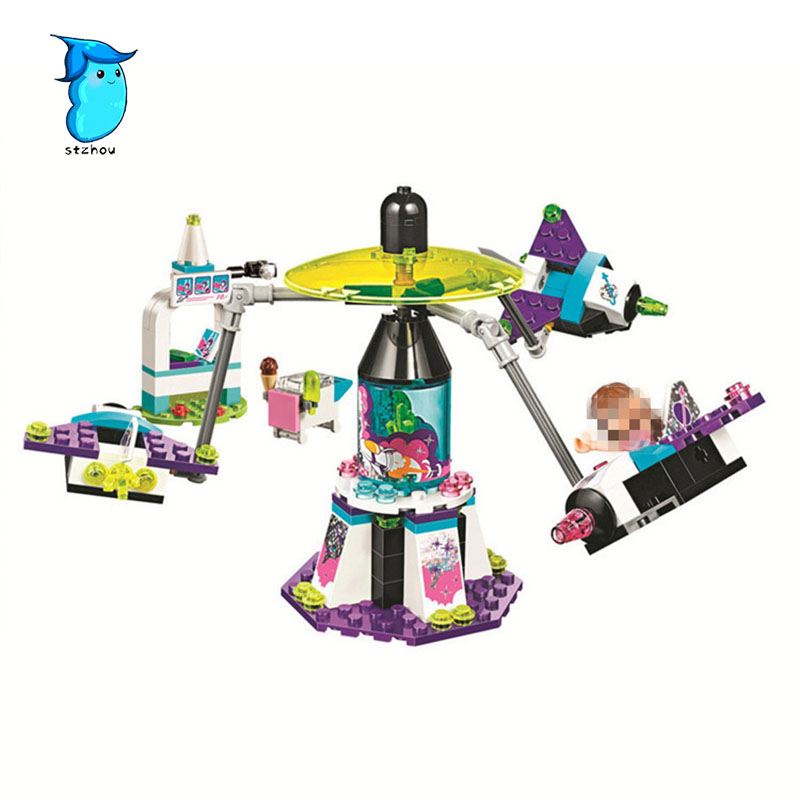 StZhou Mi Ni Wan Dou 197pcs Girl Friends Space Ship Amusement Park Bela Building Block Compatible Brick Toy