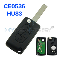 CE0536 Flip Remote Key 3 Button With Light Button HU83 Key Blade 434mhz For Citroen